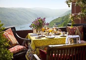 Burghotel auf Schönburg, Germany--breakfast while watching the river traffic.