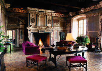 Château de Bagnols, France--elegant castle interiors welcome 21st-century guests.