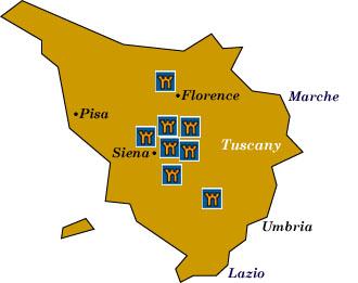 Tuscany Map Of Italy.Italian Castle Hotels Tuscany