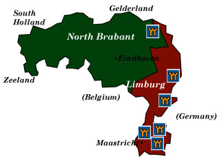 limburg and north brabant map