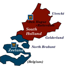 south holland and zeeland map
