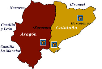 cataluña and aragón map