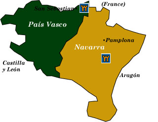 Map Of Spain Navarra.Spanish Castle Hotels Pais Vasco And Navarra