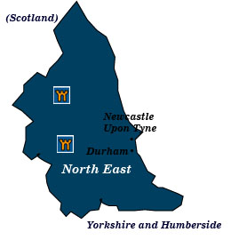 england north east map