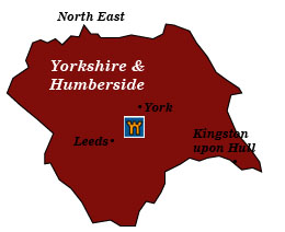yorkshire and humberside map